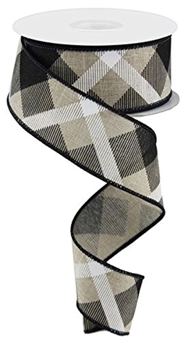 Plaid Canvas Wired Edge Ribbon, 10 Yards (Natural, Black, White, 1.5