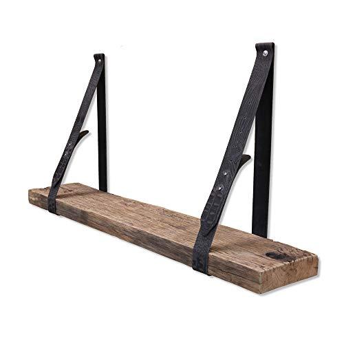 Steigerhoutpassie - Leren plankdrager - Croco Print - Verstelbaar - Set - Eiken - Wagondeel Geborsteld - Echt Oud Eiken - 90cm