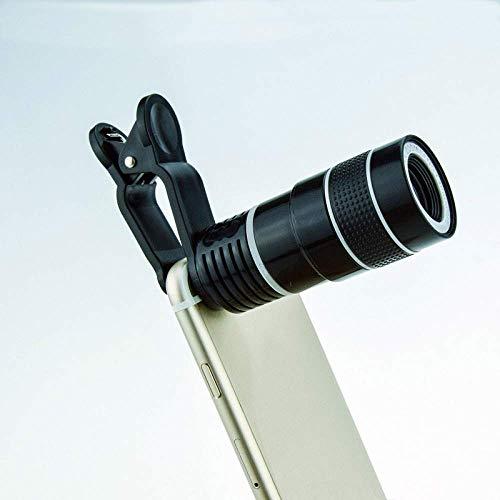 J-Love Prismáticos para Adultos, telescopio práctico 8 X18 Telescopio monocular para teléfono móvil con Clip Universal Cualquier teléfono móvil sin telescopio Vignette Adaptador cámara