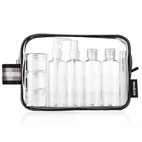 MOCOCITO Neceser Transparente con 8 Botellas de Viaje (MAX.100ml) y 1 Bolsa de Vuelo para Líquidos (20cm x 20cm,1L), Bolsa de Cosméticos Impermeable para Hombre y Mujer [Negro]