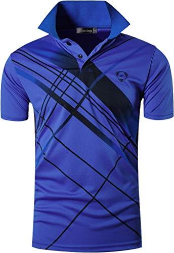 jeansian Homme De Sport Outdoor Manches Courtes Polos Quick Dry T-Shirt Tops LSL226 Blue S