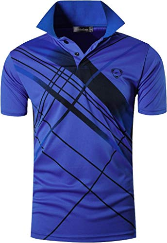jeansian Men's Sport Quick Dry Short Sleeves Polo Tee T-Shirt LSL226 Blue L