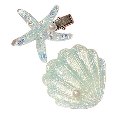 Patiky Womens Girl Starfish Clips Natural Starfish Hairpin Star Hair Headwear Accessories 2 Pack TS02 (Green Shell Starfish)