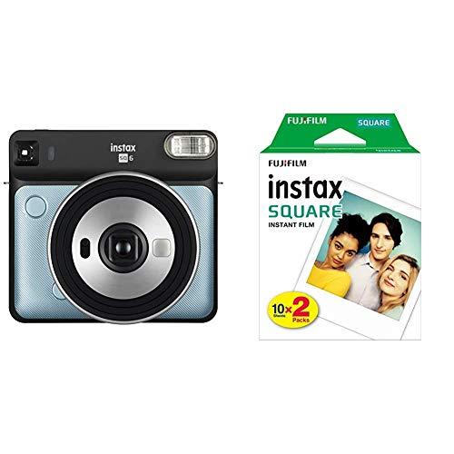 Fujifilm Instax SQ6 Cámara Analógica Instantánea Formato Cuadrado, Color Azul Agua, Square + Fujifilm instax Square, película instantánea Borde Blanco, 2 x 10 Fotos
