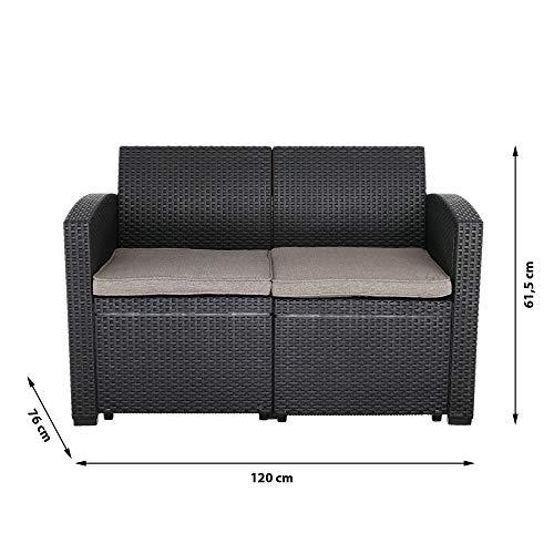 Cepewa Sitzgruppe 4 TLG. Polyrattan inkl. Auflagen für den Outdoorbereich anthrazit/Creme Gartenmöbel Loungemöbel - 4