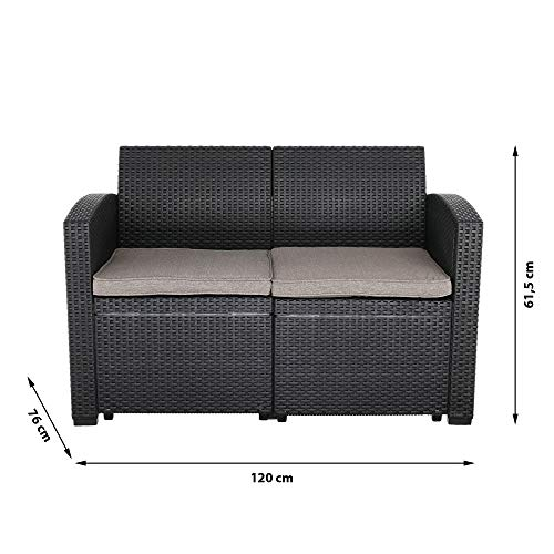 Cepewa Sitzgruppe 4 TLG. Polyrattan inkl. Auflagen für den Outdoorbereich anthrazit/Creme Gartenmöbel Loungemöbel - 6