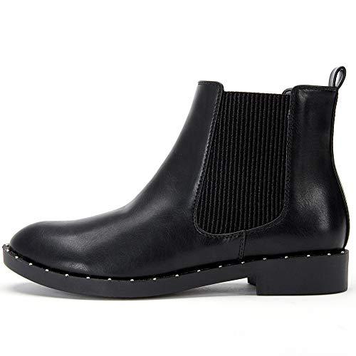 ANJOUFEMME Botas Chelsea de Sintético para Mujer - Moda Botines Plano Casual Pull-on Botas con Tacón Bloque Bajos Color Negro YKM005-BLACK-36 (Ropa)