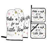 Juego de 4 manoplas para horno y soportes para ollas,pida un deseo por nuestra pequeña estrella con el concepto de ducha de bebé de estrellas explosivas,guantes para barbacoa