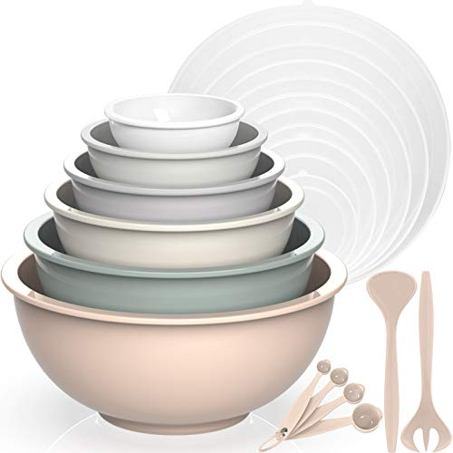 Mixing Bowls with Airtight Lids, Umite Chef 18 Piece Plastic Nesting Serving Bowls with Lids, Includes Salad spoon & Measuring Cups, Microwave Safe Mixing Bowl Set for Mixing, Baking, Serving (Khaki)
