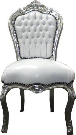 Barock Esszimmer Stuhl Weiß/Silber Ludwig XIV Stuhl Wohnung Wohnen Rokoko Jugendstil