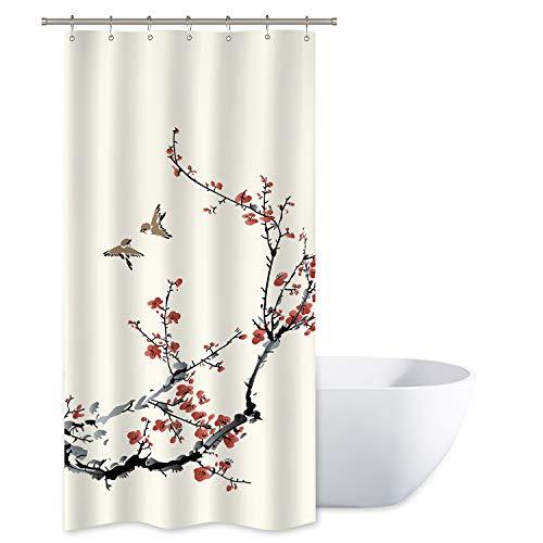 Riyidecor Blossom Cherry Buds Duschvorhang Zweige asiatischer Stil japanische chinesische Malerei Vögel Dekor Stoff Set Polyester Wasserdicht Stoff 91,4 x 182,9 cm 12 Stück Kunststoffhaken