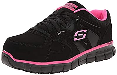 Skechers for Work Women's Synergy Sandlot Slip Resistant Work Shoe, Black/Pink, 10 M US