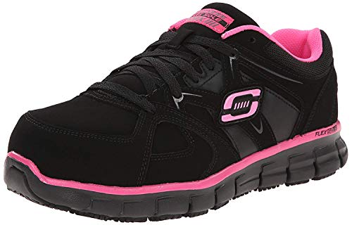 Skechers for Work Women s Synergy Sandlot Slip Resistant Work Shoe, Black Pink, 7.5 M US