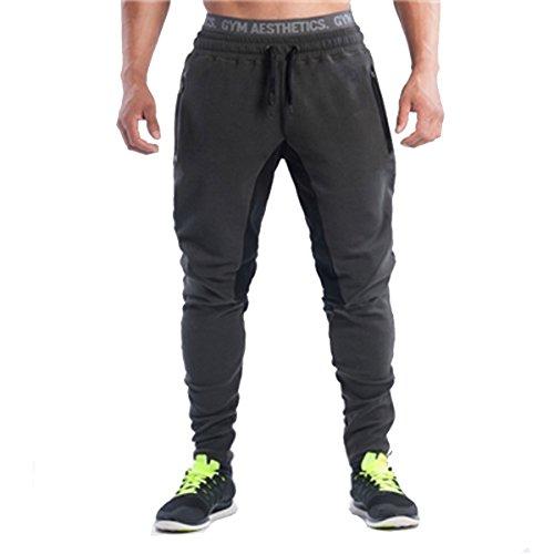 PHIBEE Uomo Pantaloni da Atletica Leggera da Jogging per Allenamento Palestra Nero L