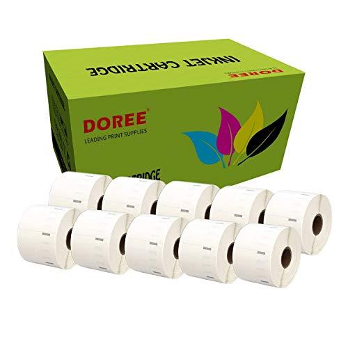 10 Rollen DOREE Thermoetiketten Rollen 57 x 32 mm, für Zebra GK420D, GX420D, GK420T Thermodruck, 1500 Etiketten pro Rolle, Kern 25 mm, Schwarz auf Weiß