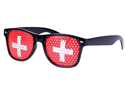 Alsino WM Lochbrille Pinehole Fanbrille Fussball Brille Länderbrille Gitterbrille Rasterbrille, wählen:V-1155 Schweiz