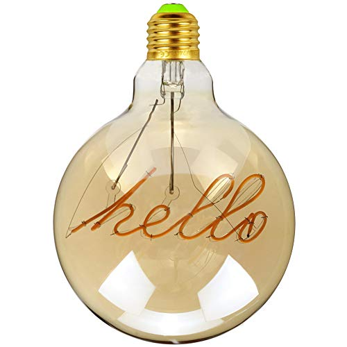 TIANFAN - Lampadina con filamento a LED che crea la scritta Hello, stile vintage, 4 W, 220 / 240 V, E27, 2000 K, super calore, luce decorativa
