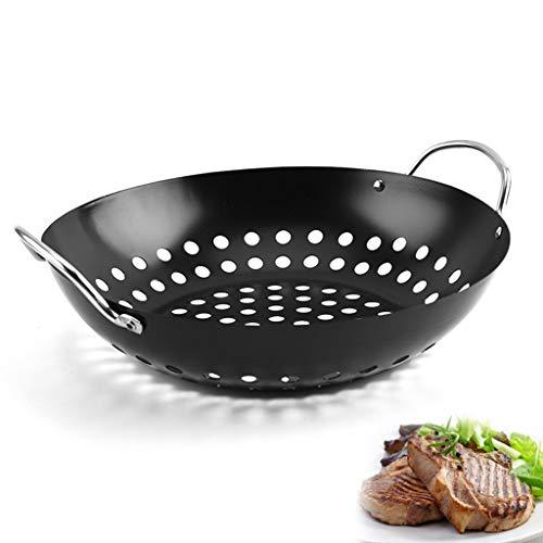 dededepeng Accessoire barbecue non stick BBQ Grill Tray Plateau à légumes en acier carbone Petit panier rond avec grands trous