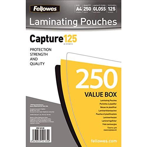 Fellowes 5314903 Pouches Di Plastificazione, Formato A4, 125 Micron, Confezione da 250 Pezzi