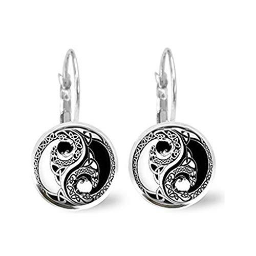 memory Pendientes de Cristal con diseño de dragón Ying Yang, joyería de Azulejos de Cristal, joyería Negra, joyería de Plata