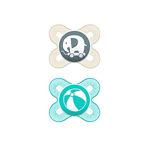 MAM Chupete Start S153 - Chupete extra pequeño para Recién Nacidos, Silicona SkinSoftTM ultrasuave, para Bebés de 0 a 2 meses, Neutro (2 unidades) con caja auto Esterilizable, Versión Española