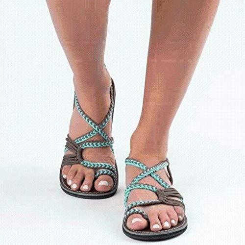 Gebonden geknoopte sandalen Open tenen Damesschoenen met platte zolen Romeinse damessandalen lichtgroene koffie 41