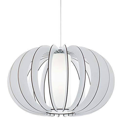 EGLO Suspension Stellato 2 - 1 ampoule - Vintage - En acier, bois et verre - Blanc - Lampe de salle à manger - Avec douille E27 - Diamètre de 50 cm