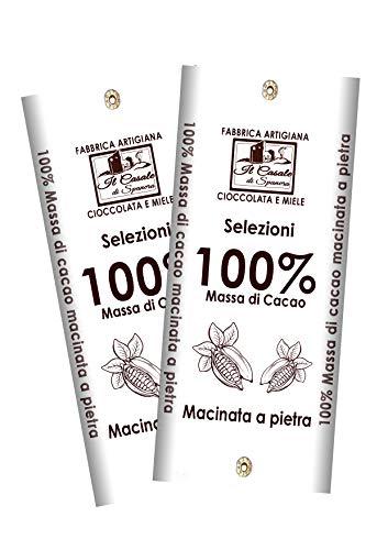 Set Tavolette MASSA DI CACAO 100% - 2pz da 95gr (190gr)- Cioccolato Fondente 100% Artigianale MADE IN ITALY - Il Casale Di Spanora