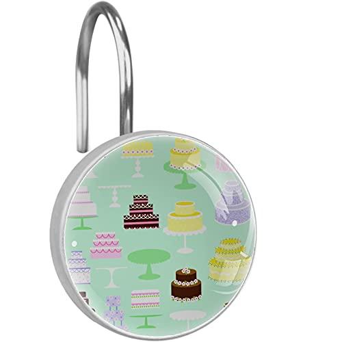 12 STÜCKE Duschvorhang Haken Ringe Dekorative rostfreie Duschhaken Duschstange Kuchen Clipart für Home Badezimmer Vorhängestangen