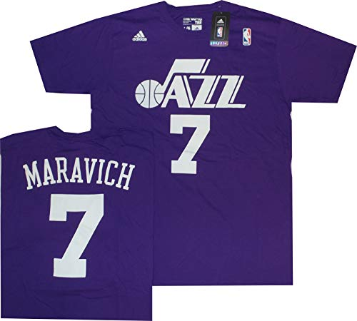 adidas New Orleans Jazz Pete Maravich Throwback Purple T Shirt (Large)