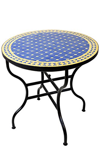 ORIGINAL Marokkanischer Mosaiktisch Gartentisch ø 80cm Groß rund klappbar | Runder klappbarer Mosaik Esstisch Mediterran | als Klapptisch für Balkon oder Garten | Marrakesch Blau Gelb 80cm