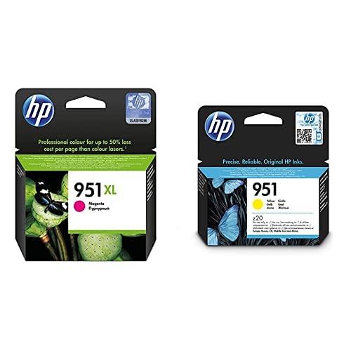HP 951Xl Cn047Ae Magenta, Cartucho De Alta Capacidad Original, De 1.500 Páginas + 951 Cn052Ae, Amarillo, Cartucho De Tinta Original, De 700 Páginas, para Impresoras