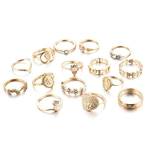 CVBN Juego de Anillos Retro Beauty Head Moneda de Oro con patrón de Cruz Juego de Anillos de Amor con Diamantes, Oro