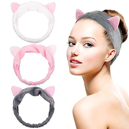 Dreamlover Headbands for Makeup, Cat Ears Makeup Headband for Women, 3 Pack