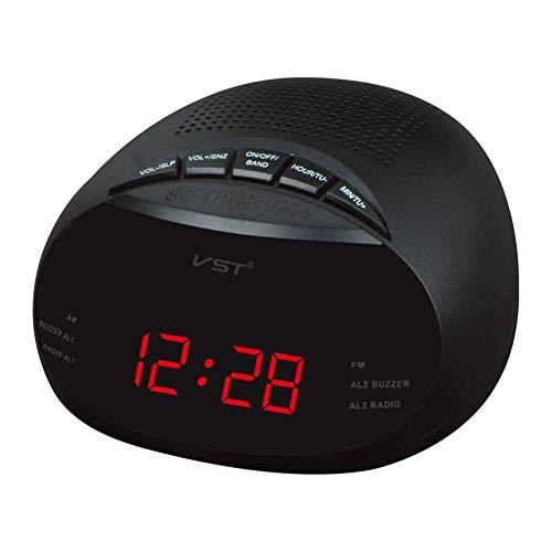 Alarma Digital Reloj de Mesa LED Reloj con Am y FM Canal de Radio de Radio Reloj Despertador múltiples, 13.5 * 6.5 * 13.5 cm Reloj Despertador (Color : Red, Size : 13.5 * 6.5 * 13.5 cm)