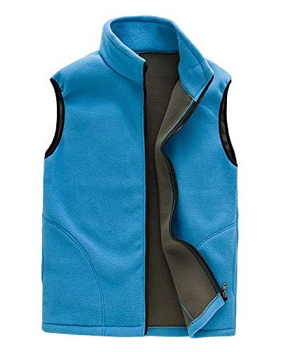 DaiHan Uomo/Donna Inverno Caldo Softshell Foderato in Pile Gilet Comoda Giacca Senza Maniche con Tasche da Trekking Montagna Uomini Cielo Blu XL