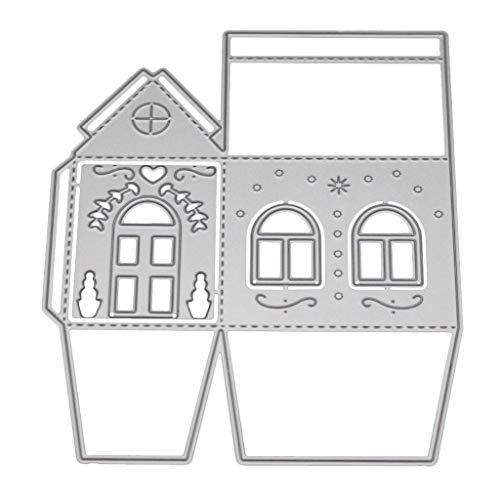 GuanjunLI - Fustelle 3D a forma di casetta per realizzare biglietti creativi, scrapbooking, fai da te, in acciaio al carbonio, colore: argento