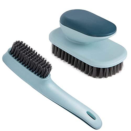 Midddslili Cepillo de lavandería Multifuncional de 2 Piezas, Cepillo Suave de Limpieza Antideslizante, Cepillo de Zapatos, Ropa Interior de Ropa y Herramienta de Limpieza de Zapatos (Azul)