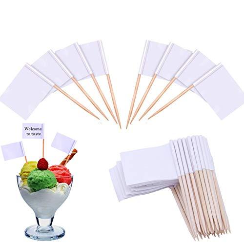 Nuluxi Weiße Flaggen Kuchen Toppers Weiße Flagge Zahnstocher Flaggen Fahnen Kuchendekoration Verwendet für Kuchen Käseplatte Käse Sandwiches Vorspeisen Kuchen Lebensmittel Marker Flaggen(100 Stück)