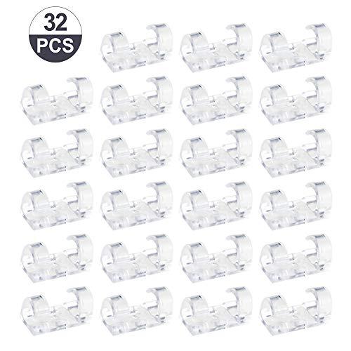 Girls'love talk 32 Stück Kabelclips,Kabelhalter mit Klebstoff Gesicherte Unterlage,Kabelklemme Set für Schreibtisch,Netzkabel,USB Ladekabel und Audiokabel(Transparent)