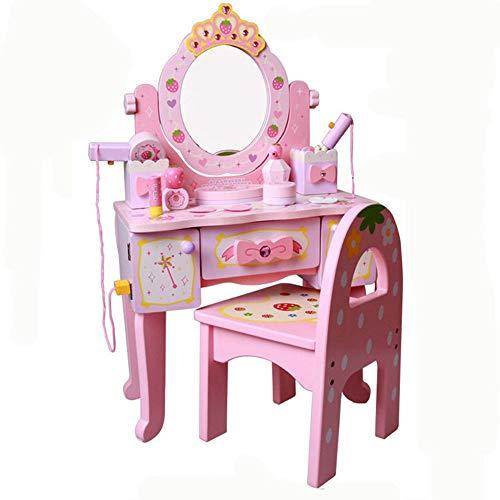 WH-IOE Frisierkommode für Mädchen Holz Dresser Mädchen-Kindergarten Role Play House Puzzle Prinzessin Pink Kinder Spielzeug (Color : Pink, Size : 75x41x22cm)