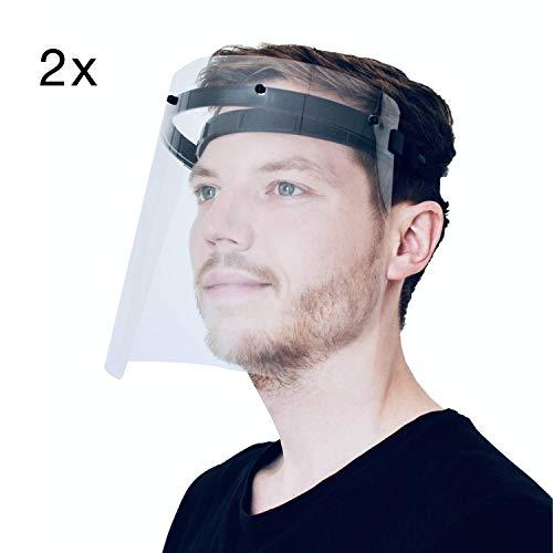2X PATRONUS PROTECTION CE-zertifizierter Gesichtsschutz und Augenschutz (face Shield) / Spuckschutz-Schirm inkl. je 2X hochwertiges Visier (transparent, klar und beschlagarm)