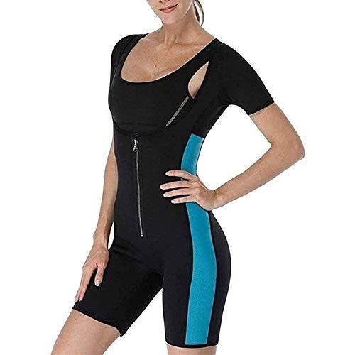 FGDJTYYJ Traje de Neopreno de Sudor Deportivo de Fajas de Cuerpo Completo para Mujer, Body de Entrenador de Cintura con Cremallera para Bajar de Peso (Color : Blue, Size : XXL)