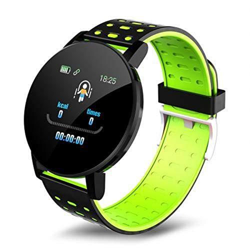 Nuevo 119PLUS Smart Watch Smart Color Pantalla A Prueba De Agua Tasa del Corazón Monitor De Sueño Podómetro Pulsera Inteligente para Xiaomi iOS (Color : Green)