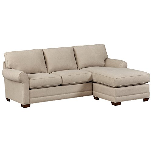 """Stone & Beam Kristin Round Arm Performance Fabric Reversible Chaise Sofa Couch, 96.5""""W, Stone"""