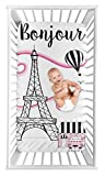 Sweet Jojo Designs Paris Girl Fitted Crib Sheet Baby or Toddler Bed Nursery Photo Op - Hot Pink, Black and White Eiffel Tower Striped Hot Air Balloon