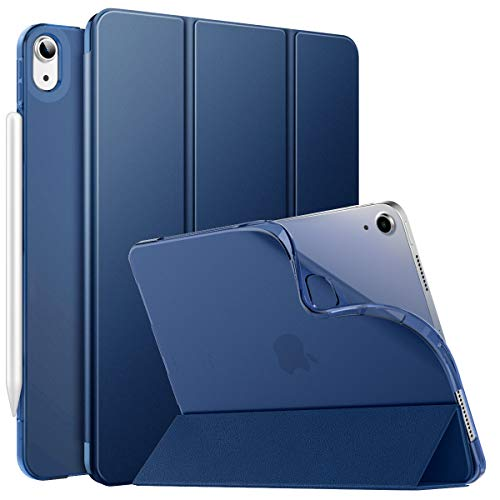 MoKo Case Fit iPad Air 4th Generation 2020 New iPad 10.9 inch 2020, [Support iPencil 2 Charging] Smart Trifold Stand Slim Folio with TPU Frosted Translucent Back Cover Auto Wake/Sleep, Navy Blue