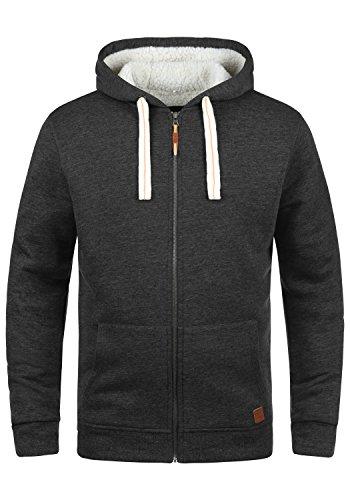 Blend Ted Herren Winter Sweatjacke Kapuzen-Jacke Zip-Hoodie Pullover mit Teddy-Futter, Größe:M, Farbe:Charcoal (70818)