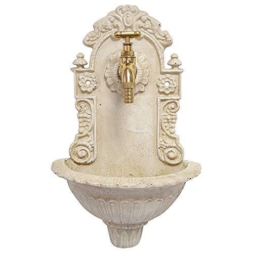 zeitzone Kleiner Wandbrunnen Nostalgie Waschbecken Antik-Stil Gusseisen Weiß