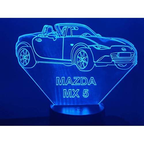 MAZDA MX5, Lampada illusione 3D con LED - 7 colori.